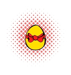 Easter egg with a red bow icon comics style vector image