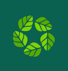 Eco leaves star wreath logo icon design template vector