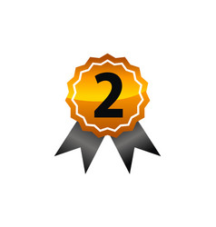 Emblem best quality number 2 vector