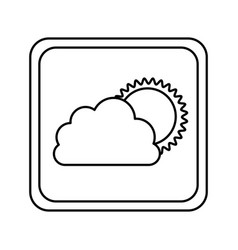 emblem cloud with sun icon vector image