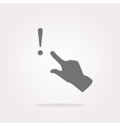 exclamation mark sign icon with people hand Help vector image