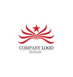 Falcon eagle bird and star logo template app vector