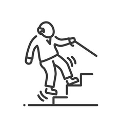 fall prevention - line design single isolated icon vector image