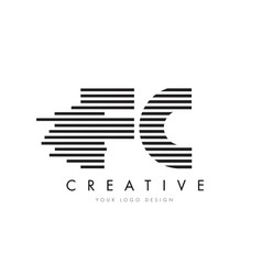 Fc f c zebra letter logo design with black and vector