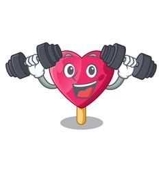 Fitness chocolate heart on ice cream cartoon vector