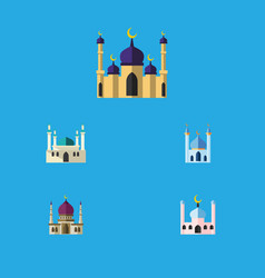 flat icon mosque set of structure traditional vector image