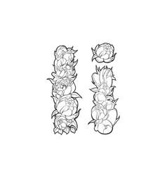 flower alphabet the letter i vector image