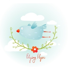 Flying bird with floral wreath cartoon vector