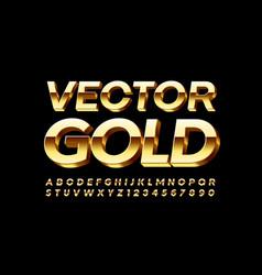 Gold alphabet shiny 3d font vector