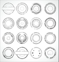 Grunge round paper stickers black and white 1 vector
