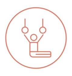Gymnast performing on stationary rings line icon vector image