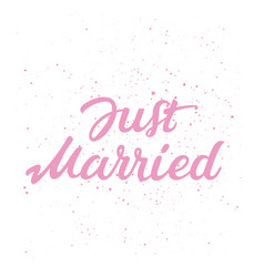 hand drawn lettering text just married vector image