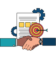 Hands business persons done deal with document and vector