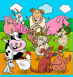 Happy farm animals cartoon characters group vector