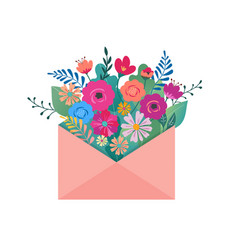 Hello spring letter envelope with flower bouquet vector