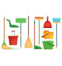 housework broom and mop sweeper brooms home vector image