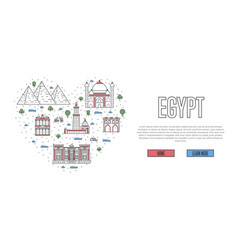 i love egypt poster in linear style vector image