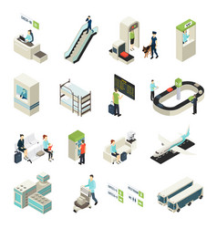 isometric airport elements set vector image