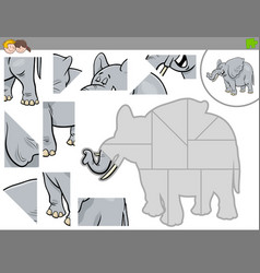 Jigsaw puzzle game with elephant animal vector