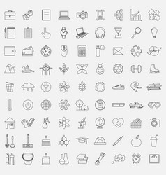 Line icons for different vector