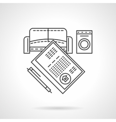List of rent objects flat line icon vector image