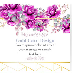 Luxury rose flowers watercolor card golden vector