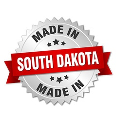 Made in South Dakota silver badge with red ribbon vector