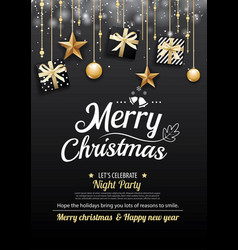 Merry christmas party and gift box on dark vector