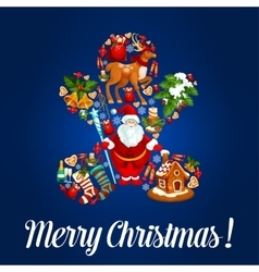 Merry Christmas poster greeting card vector