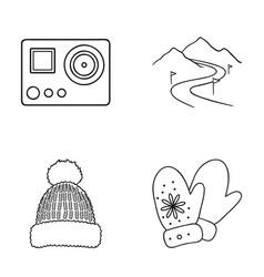 Mittens warm hat ski piste motion camera ski vector