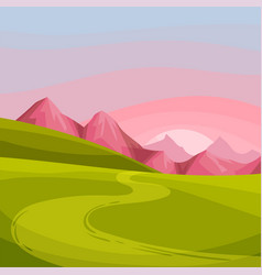 Mountain peaks winding country road and sunset as vector