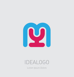 my initial logo ym initial monogram logotype m vector image
