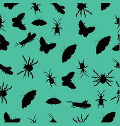Pattern of silhouettes of insects vector