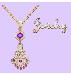 Pendant necklace with precious stones and filigree vector image