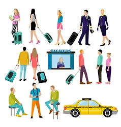 People in airport flat icons set vector image