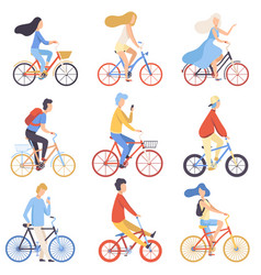 people riding bicycles set cycling men and women vector image