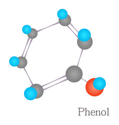 phenol 3d molecule chemical science cartoon style vector image