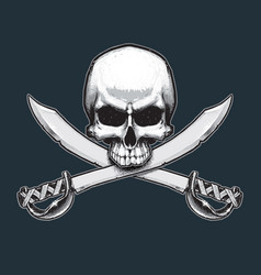 Pirates jawless skull and swords vector