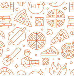 pizza delivery orange seamless pattern vector image