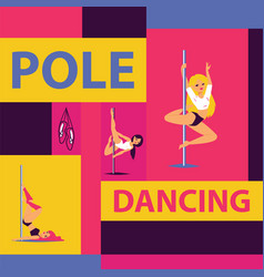 pole dance school advertising poster with girls in vector image