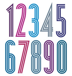 Poster geometric bright simple striped numbers vector