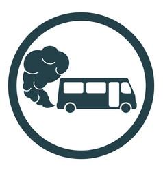 Prohibiting hazardous exhaust gas sign bus icon vector
