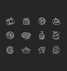 pumpkin recipes chalk white icons set on black vector image
