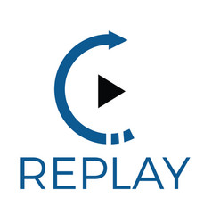 Replay audio and video logo design vector