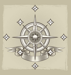Retro nautical compass rose vector