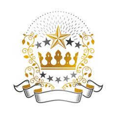 royal crown emblem heraldic design element retro vector image