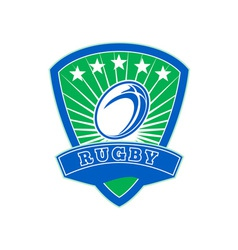 rugby ball with stars shield vector image