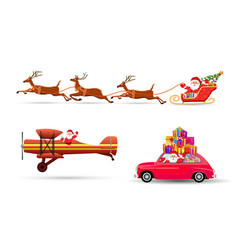 Santa Claus flying with vector image