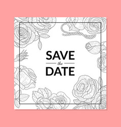 save the date invitation card template with hand vector image
