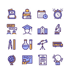 school color linear icons vector image